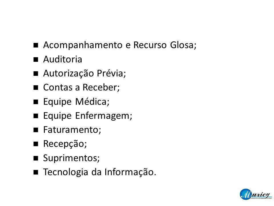 Acompanhamento e Recurso Glosa; Auditoria Autorização Prévia; Contas a Receber; Equipe Médica; Equipe Enfermagem; Faturamento; Recepção; Suprimentos;