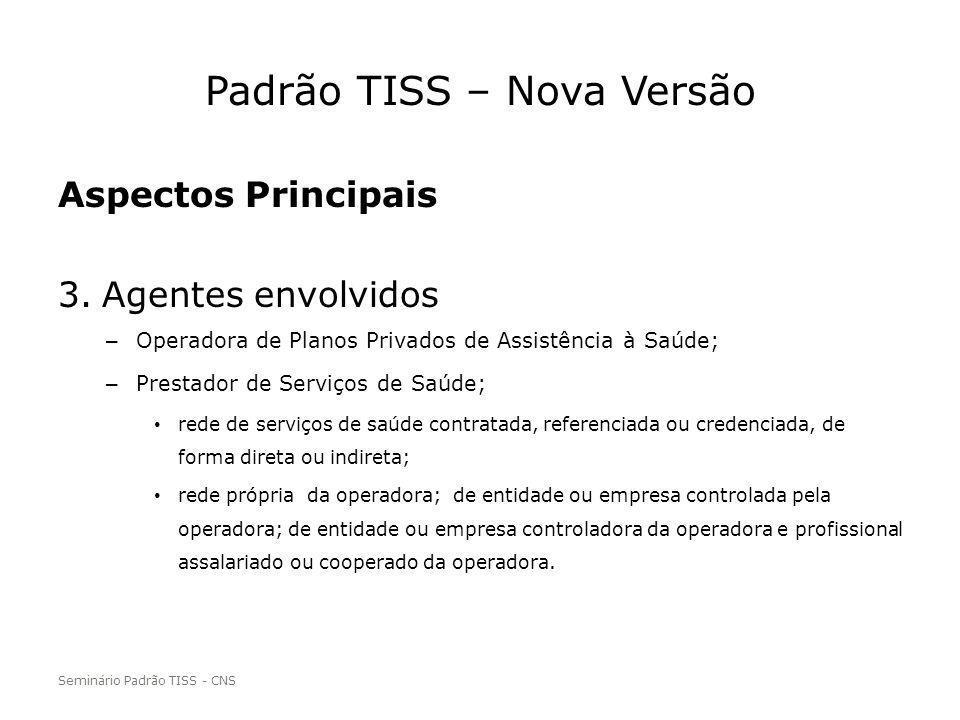 Padrão TISS – Nova Versão Aspectos Principais 3.Agentes envolvidos – Operadora de Planos Privados de Assistência à Saúde; – Prestador de Serviços de S