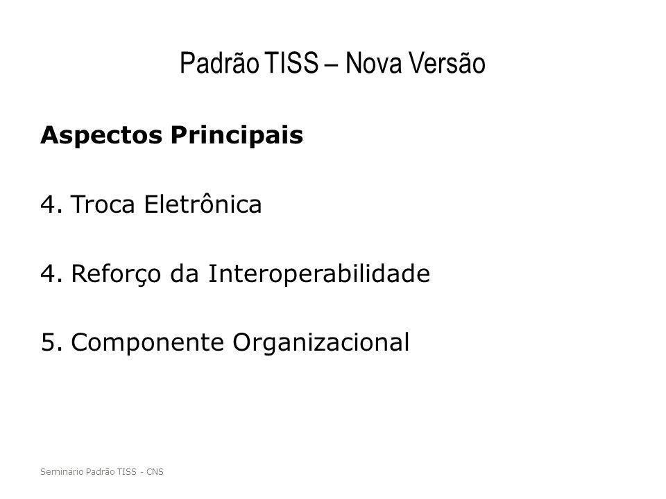 Padrão TISS – Nova Versão Aspectos Principais 4.Troca Eletrônica 4.Reforço da Interoperabilidade 5.Componente Organizacional Seminário Padrão TISS - C