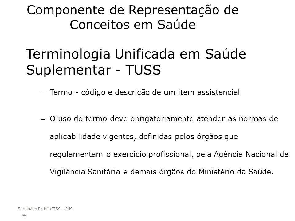 Seminário Padrão TISS - CNS Componente de Representação de Conceitos em Saúde Terminologia Unificada em Saúde Suplementar - TUSS – Termo - código e de