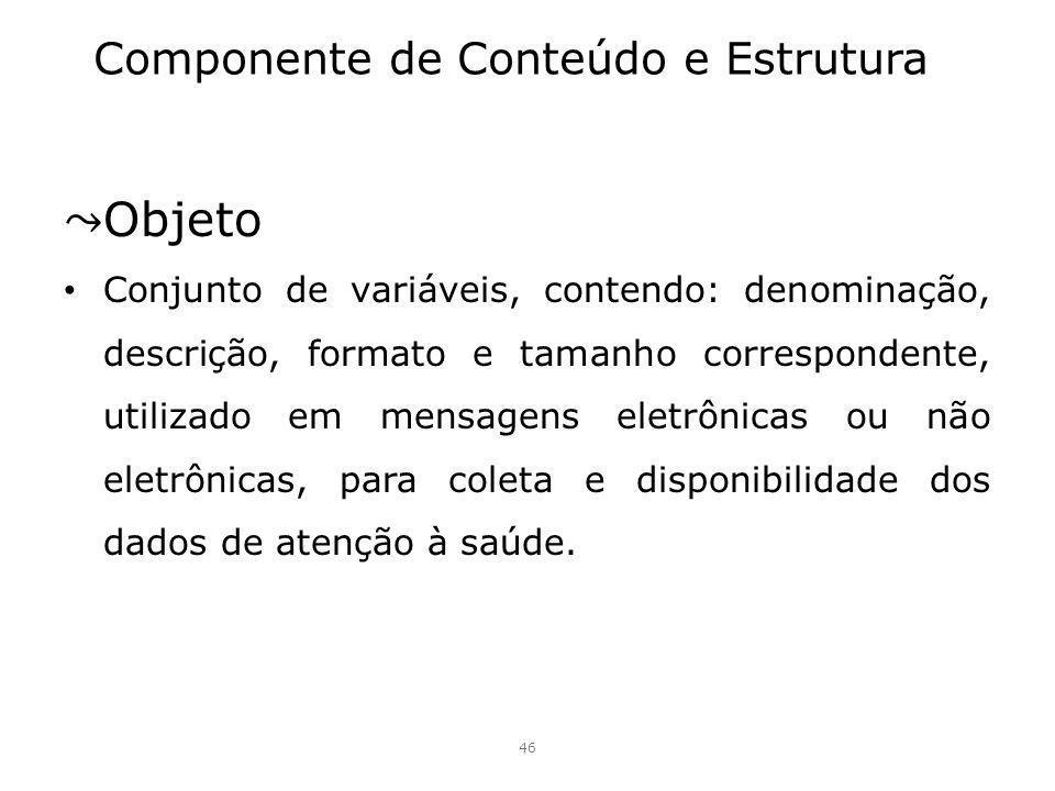 Componente de Conteúdo e Estrutura Objeto Conjunto de variáveis, contendo: denominação, descrição, formato e tamanho correspondente, utilizado em mens