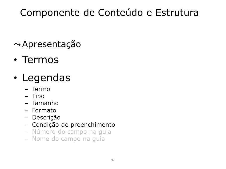 Componente de Conteúdo e Estrutura Apresentação Termos Legendas – Termo – Tipo – Tamanho – Formato – Descrição – Condição de preenchimento – Número do