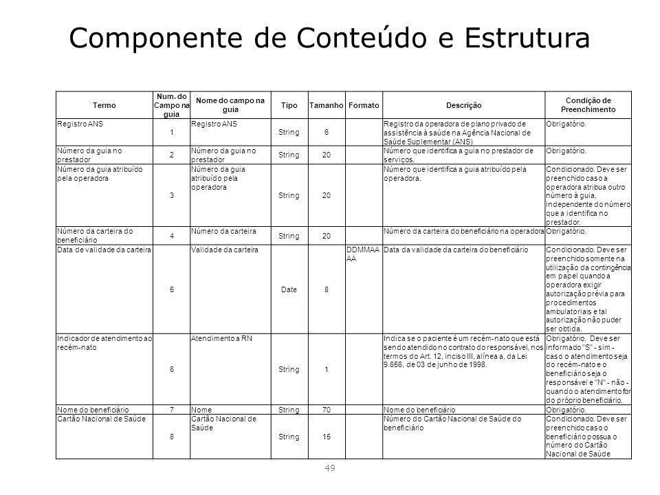Componente de Conteúdo e Estrutura 49 Termo Num. do Campo na guia Nome do campo na guia TipoTamanhoFormatoDescrição Condição de Preenchimento Registro