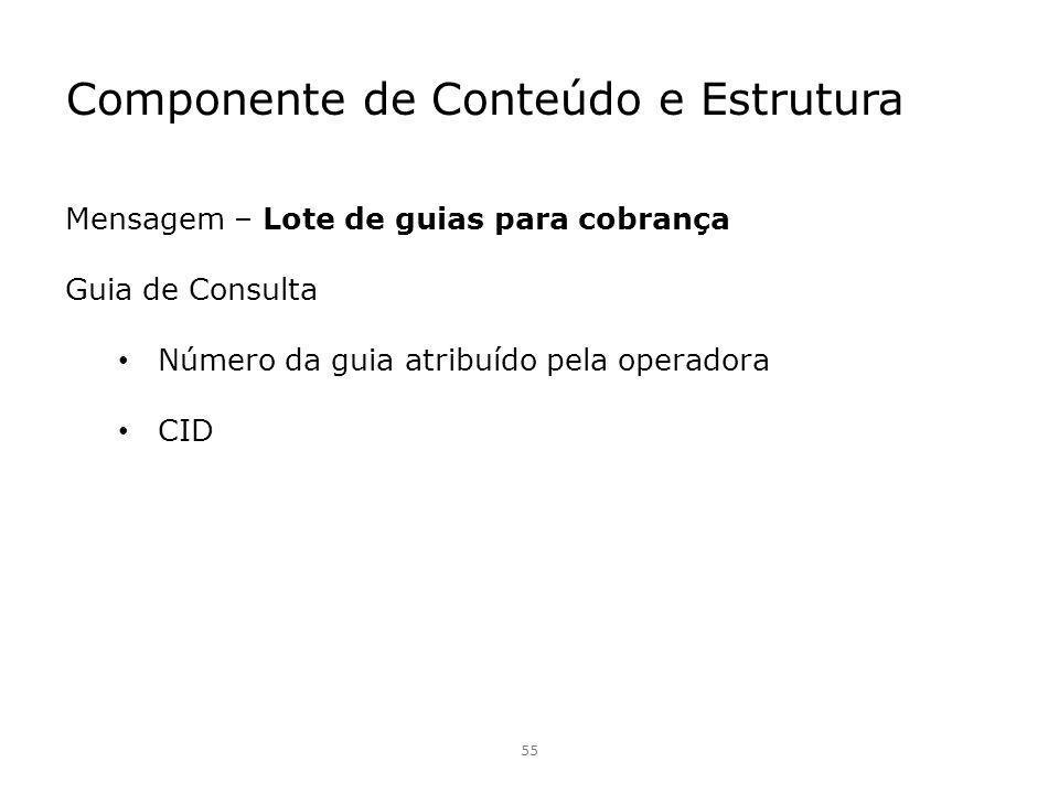 55 Mensagem – Lote de guias para cobrança Guia de Consulta Número da guia atribuído pela operadora CID