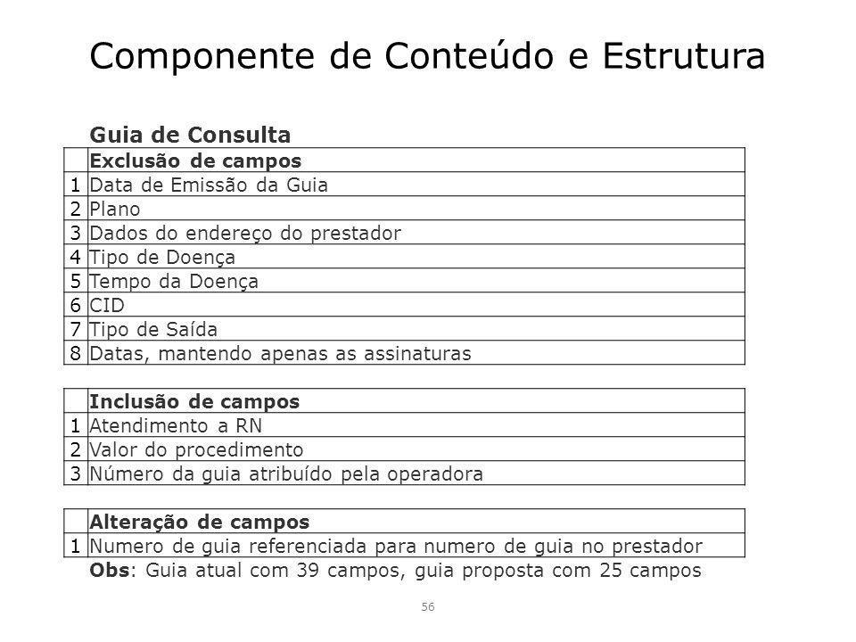 Componente de Conteúdo e Estrutura 56 Guia de Consulta Exclusão de campos 1 Data de Emissão da Guia 2 Plano 3 Dados do endereço do prestador 4 Tipo de