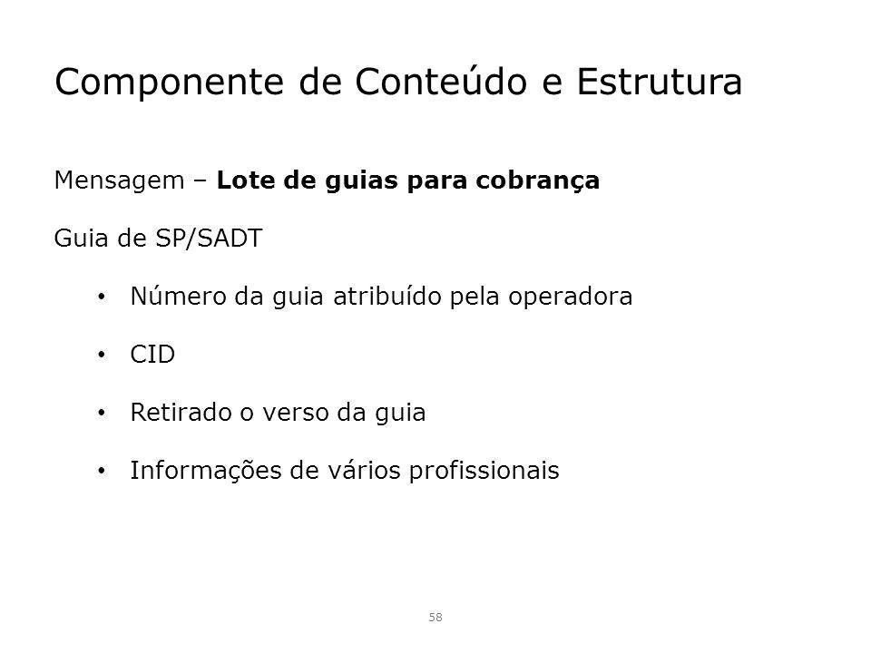 Componente de Conteúdo e Estrutura 58 Mensagem – Lote de guias para cobrança Guia de SP/SADT Número da guia atribuído pela operadora CID Retirado o ve