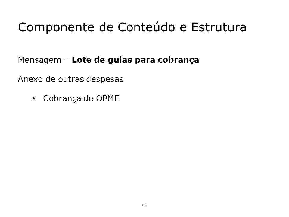Componente de Conteúdo e Estrutura 61 Mensagem – Lote de guias para cobrança Anexo de outras despesas Cobrança de OPME