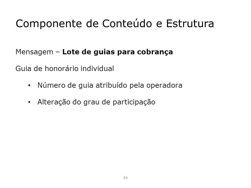 Componente de Conteúdo e Estrutura 64 Mensagem – Lote de guias para cobrança Guia de honorário individual Número de guia atribuído pela operadora Alte