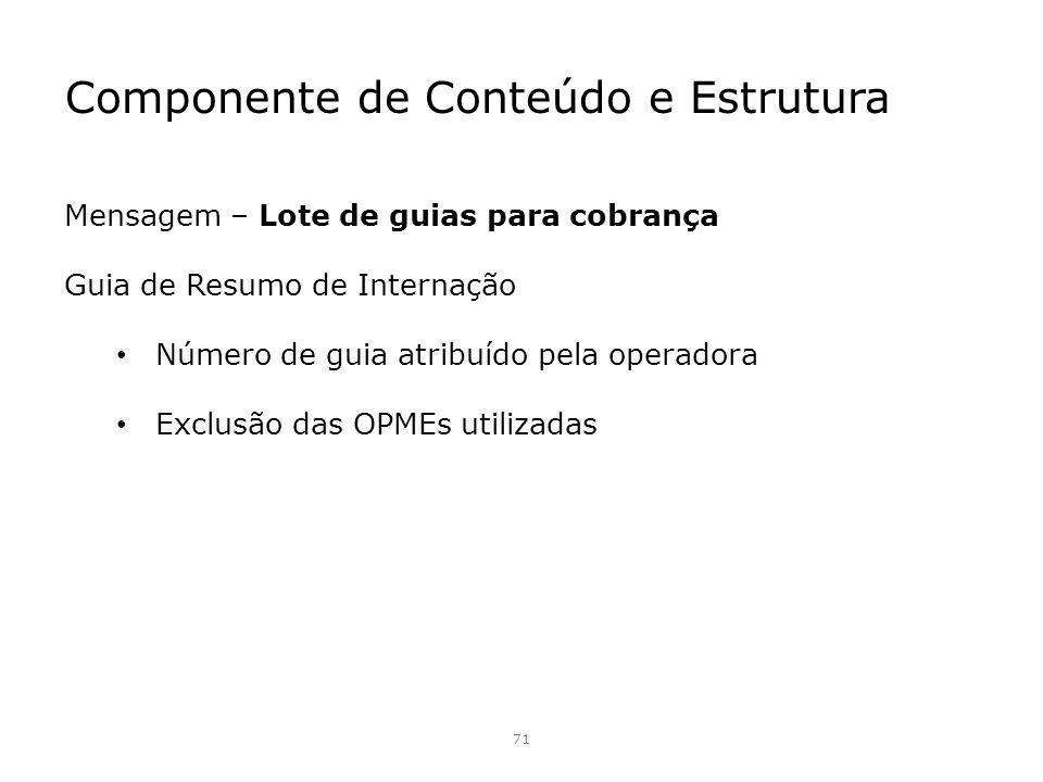 Componente de Conteúdo e Estrutura 71 Mensagem – Lote de guias para cobrança Guia de Resumo de Internação Número de guia atribuído pela operadora Excl