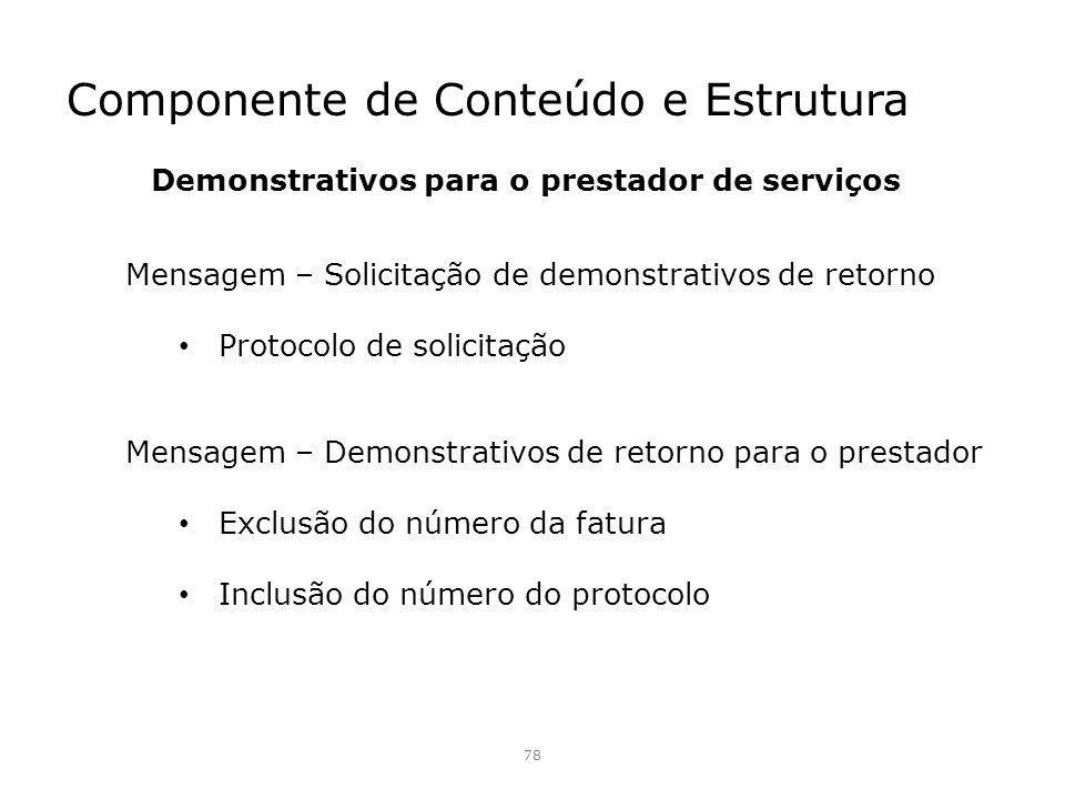 Componente de Conteúdo e Estrutura 78 Mensagem – Solicitação de demonstrativos de retorno Protocolo de solicitação Mensagem – Demonstrativos de retorn