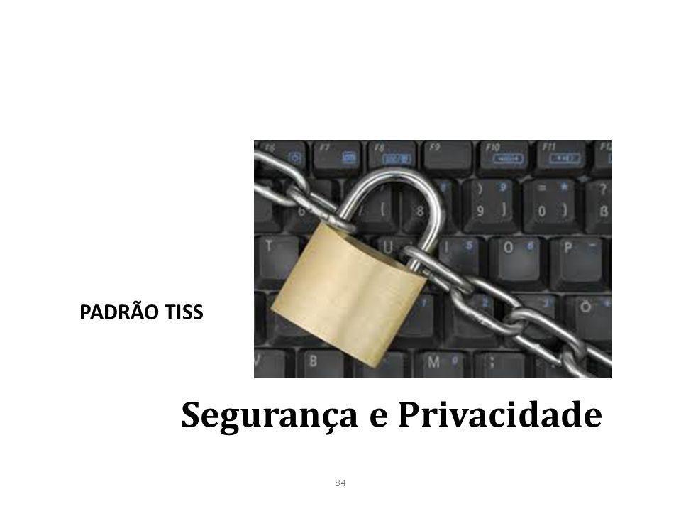 84 Segurança e Privacidade PADRÃO TISS