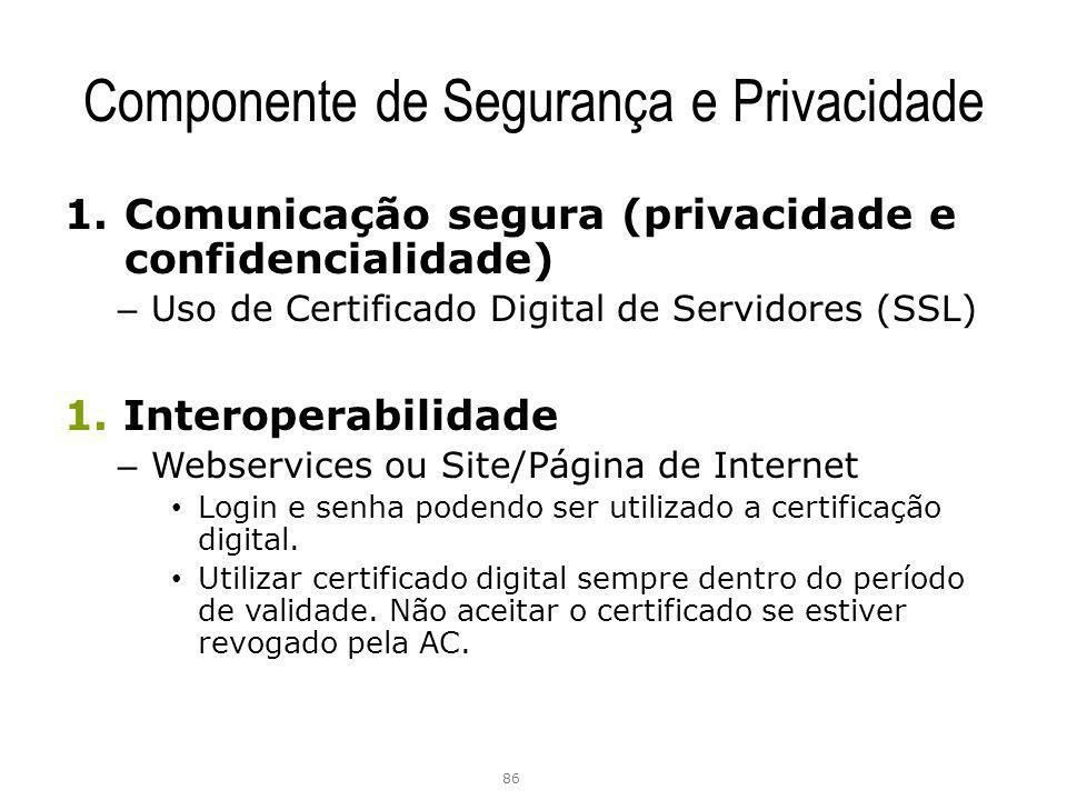 Componente de Segurança e Privacidade 1.Comunicação segura (privacidade e confidencialidade) – Uso de Certificado Digital de Servidores (SSL) 1. Inter