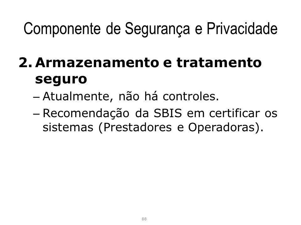 Componente de Segurança e Privacidade 2.Armazenamento e tratamento seguro – Atualmente, não há controles. – Recomendação da SBIS em certificar os sist