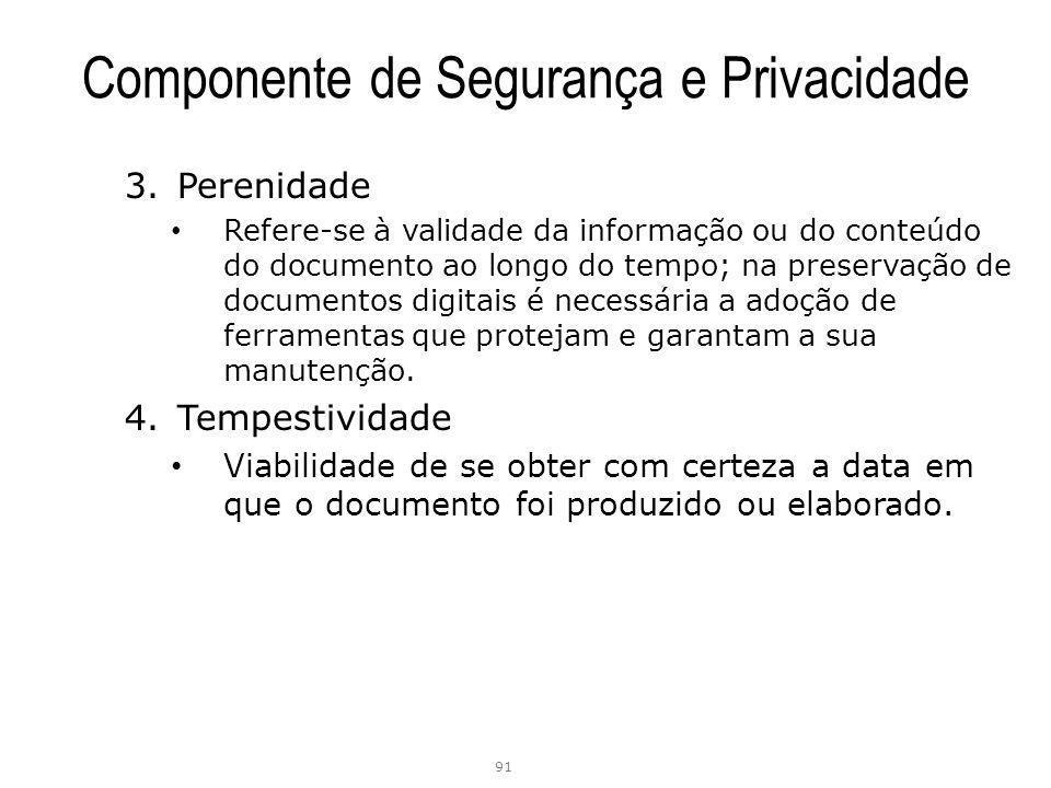 Componente de Segurança e Privacidade 3.Perenidade Refere-se à validade da informação ou do conteúdo do documento ao longo do tempo; na preservação de