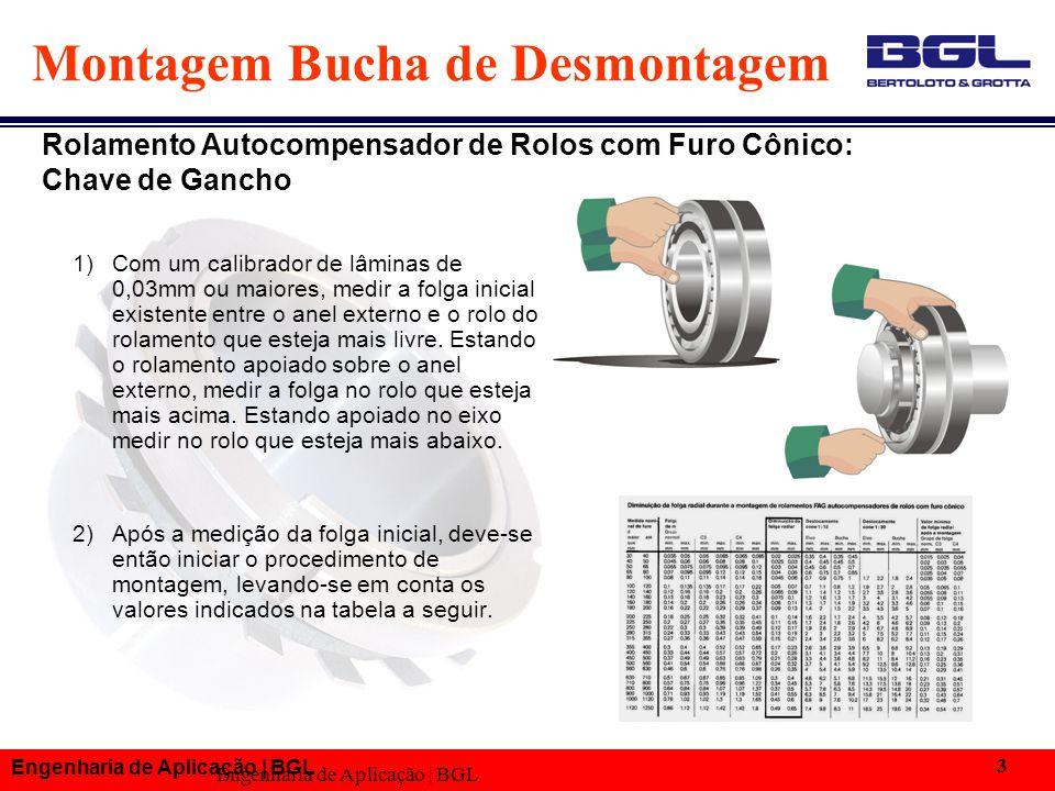 Engenharia de Aplicação | BGL 3 Montagem Bucha de Desmontagem 1) Com um calibrador de lâminas de 0,03mm ou maiores, medir a folga inicial existente en