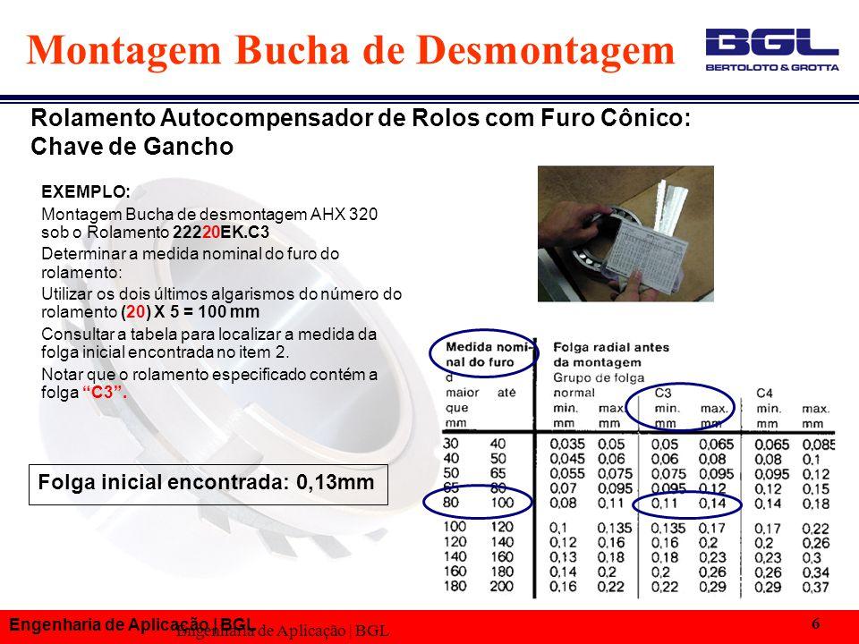 Engenharia de Aplicação | BGL 6 Folga inicial encontrada: 0,13mm Montagem Bucha de Desmontagem EXEMPLO: Montagem Bucha de desmontagem AHX 320 sob o Ro