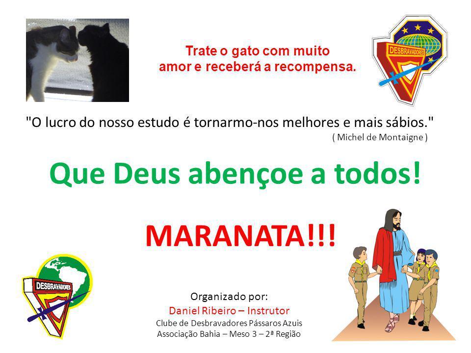 Organizado por: Daniel Ribeiro – Instrutor Clube de Desbravadores Pássaros Azuis Associação Bahia – Meso 3 – 2ª Região Que Deus abençoe a todos! MARAN