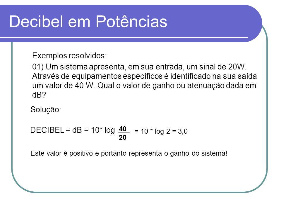 Decibel em Potências Exemplos resolvidos: 01) Um sistema apresenta, em sua entrada, um sinal de 20W. Através de equipamentos específicos é identificad