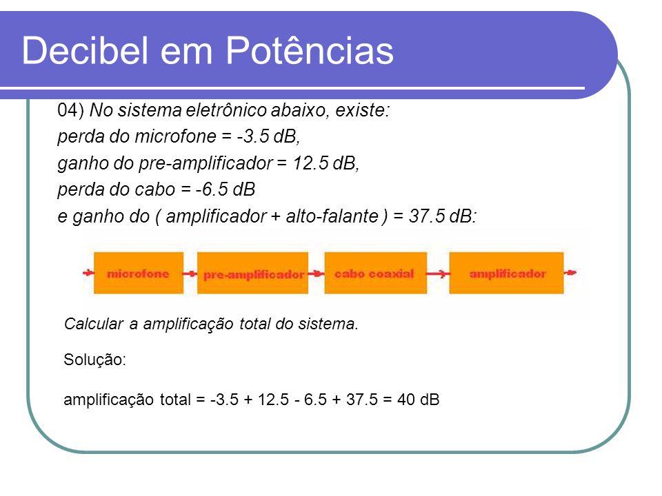 Decibel em Potências 04) No sistema eletrônico abaixo, existe: perda do microfone = -3.5 dB, ganho do pre-amplificador = 12.5 dB, perda do cabo = -6.5