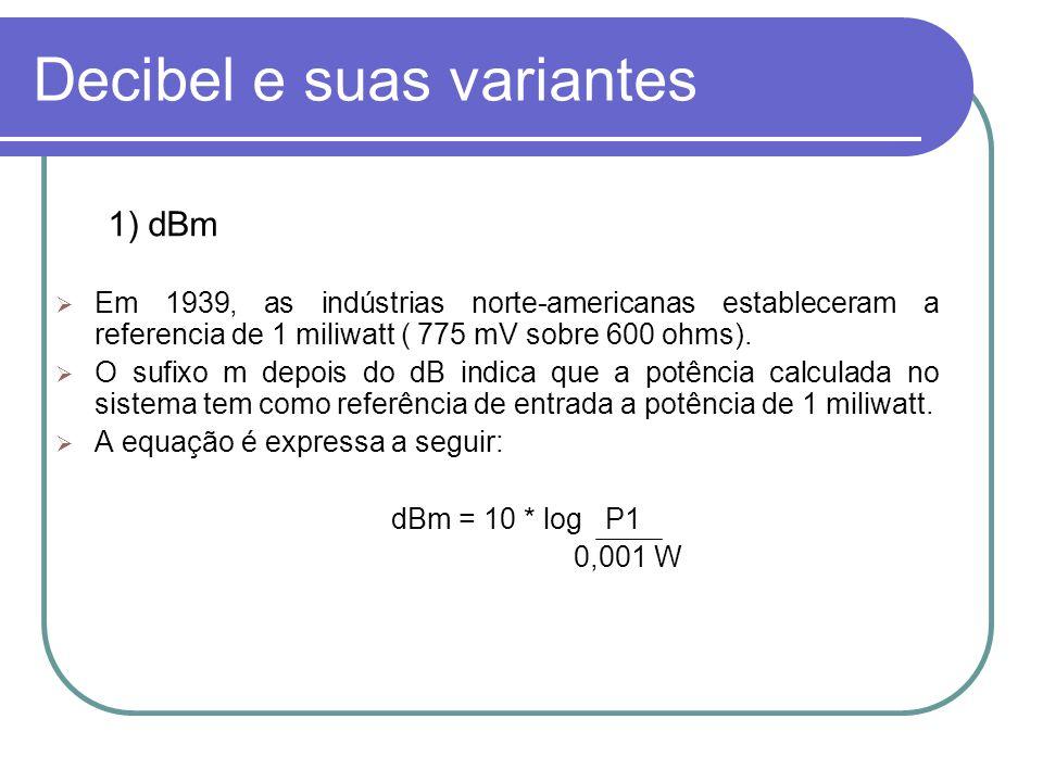 Decibel e suas variantes 1) dBm Em 1939, as indústrias norte-americanas estableceram a referencia de 1 miliwatt ( 775 mV sobre 600 ohms). O sufixo m d