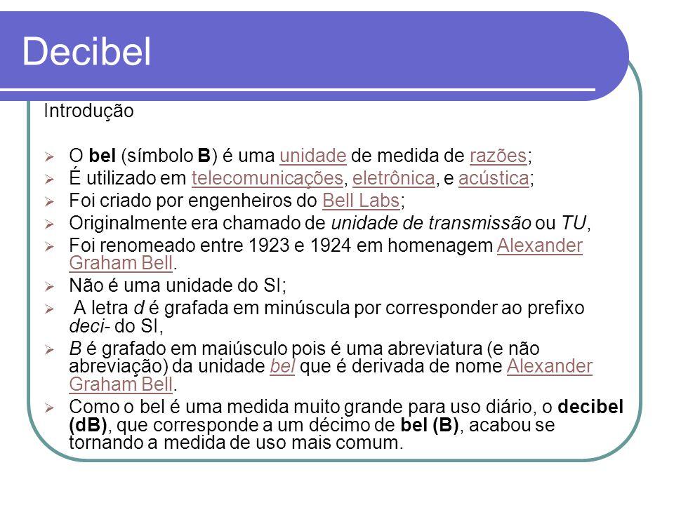 Decibel Introdução O bel (símbolo B) é uma unidade de medida de razões;unidaderazões É utilizado em telecomunicações, eletrônica, e acústica;telecomun