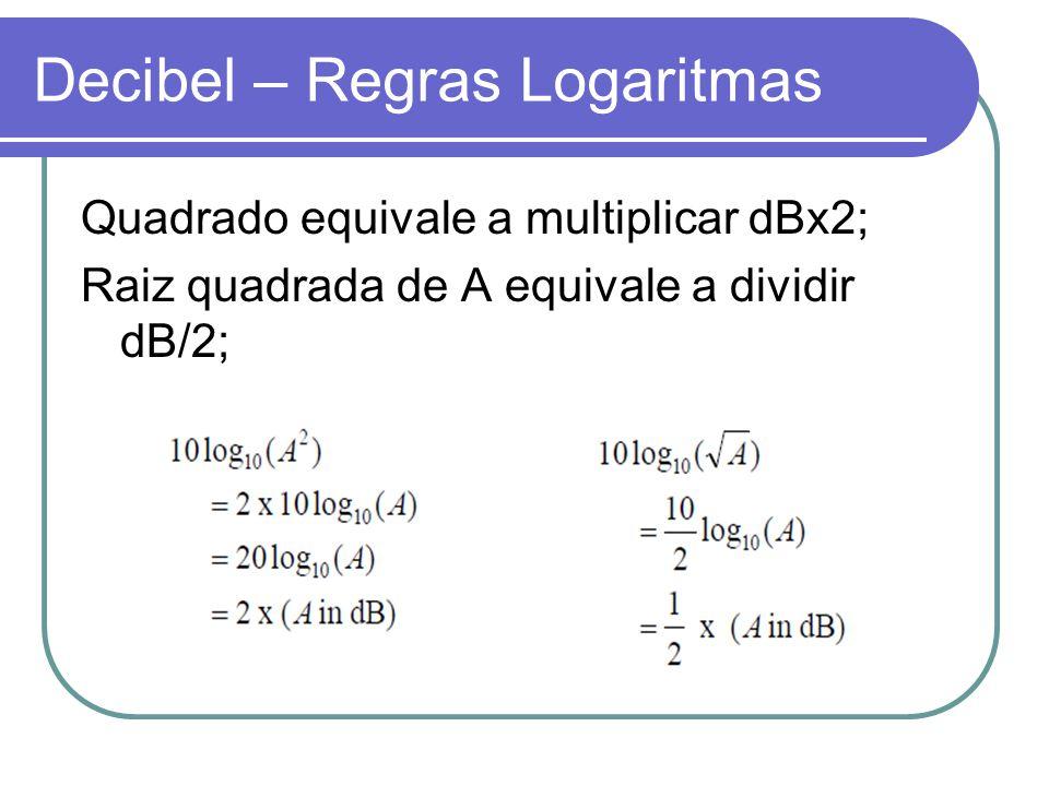 Decibel – Regras Logaritmas Quadrado equivale a multiplicar dBx2; Raiz quadrada de A equivale a dividir dB/2;
