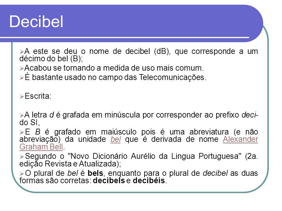 Decibel A este se deu o nome de decibel (dB), que corresponde a um décimo do bel (B); Acabou se tornando a medida de uso mais comum. É bastante usado