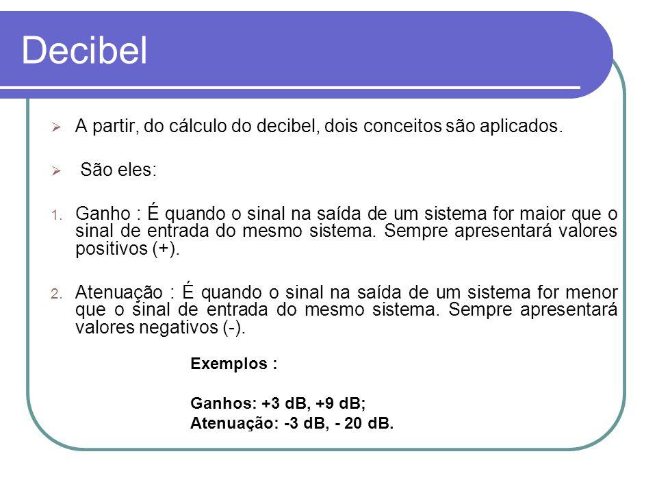 Decibel Para grandezas onde o quadrado é proporcional a potência, tem-se: Tensão => dB= 20* log V2V1V2V1 Corrente => dB= 20* log I2I1I2I1 Pressão sonora => dB= 20* log p2p1p2p1