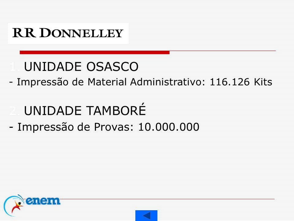 1.UNIDADE OSASCO - Impressão de Material Administrativo: 116.126 Kits 2.UNIDADE TAMBORÉ - Impressão de Provas: 10.000.000