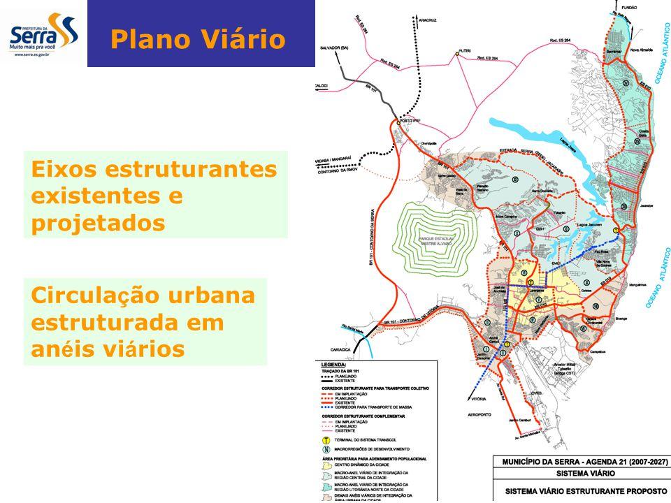 Plano Viário Eixos estruturantes existentes e projetados Circula ç ão urbana estruturada em an é is vi á rios