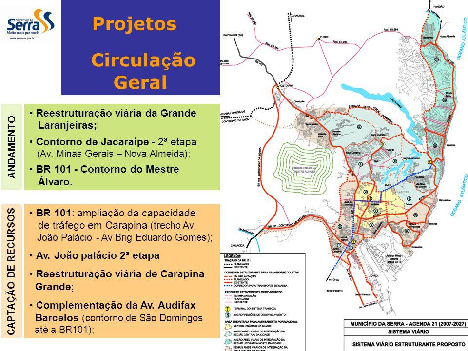 BR 101: ampliação da capacidade de tráfego em Carapina (trecho Av. João Palácio - Av Brig Eduardo Gomes); Av. João palácio 2ª etapa Reestruturação viá