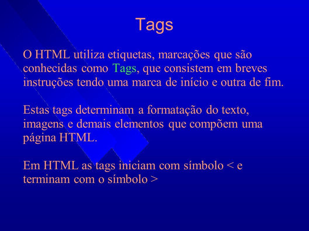 Tags Básicas : Define o início de um documento HTML e indica ao navegador que todo conteúdo posterior deve ser tratado como uma série de códigos HTML.