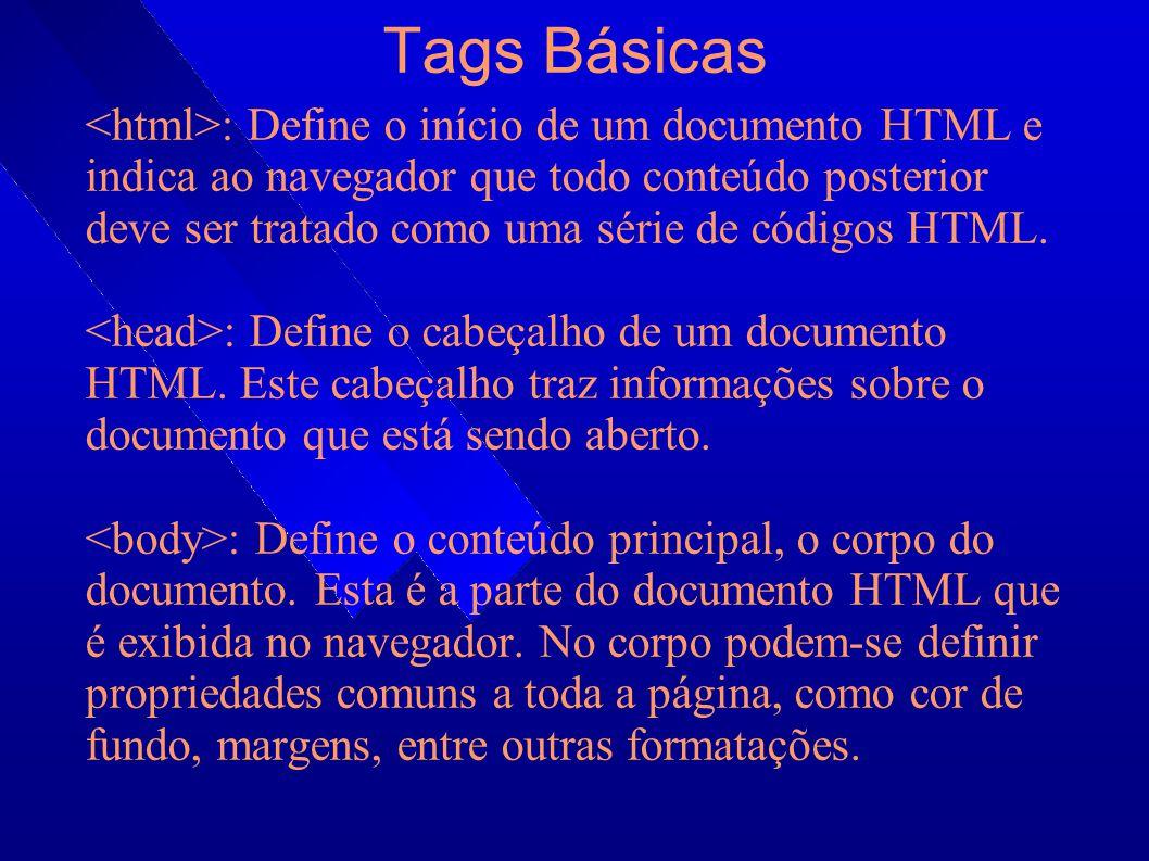 Cabeçalho Dentro do cabeçalho (tag ) podemos encontrar: : Define o título da página, que é exibido na barra de título dos browsers.