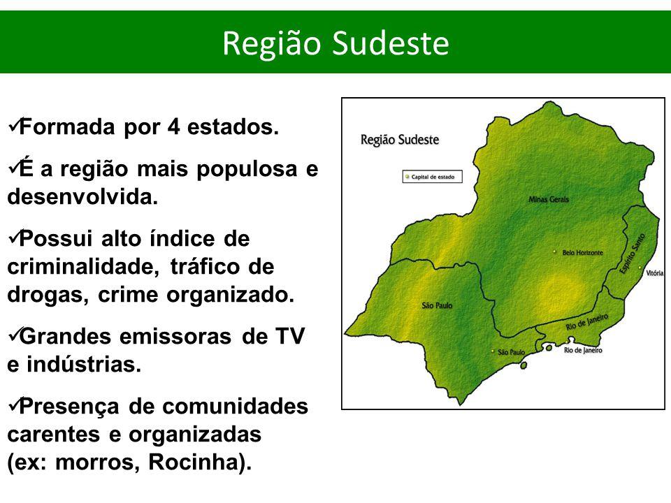 Formada por 4 estados. É a região mais populosa e desenvolvida. Possui alto índice de criminalidade, tráfico de drogas, crime organizado. Grandes emis