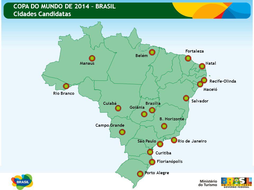COPA DO MUNDO DE 2014 – BRASIL Cidades Candidatas Porto Alegre Florianópolis Curitiba Rio de JaneiroSão Paulo Campo Grande Cuiabá Rio Branco Manaus Be