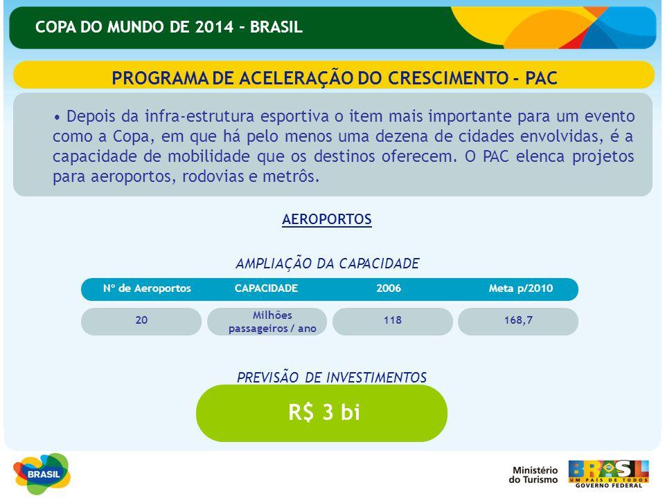 COPA DO MUNDO DE 2014 - BRASIL PROGRAMA DE ACELERAÇÃO DO CRESCIMENTO - PAC Depois da infra-estrutura esportiva o item mais importante para um evento c