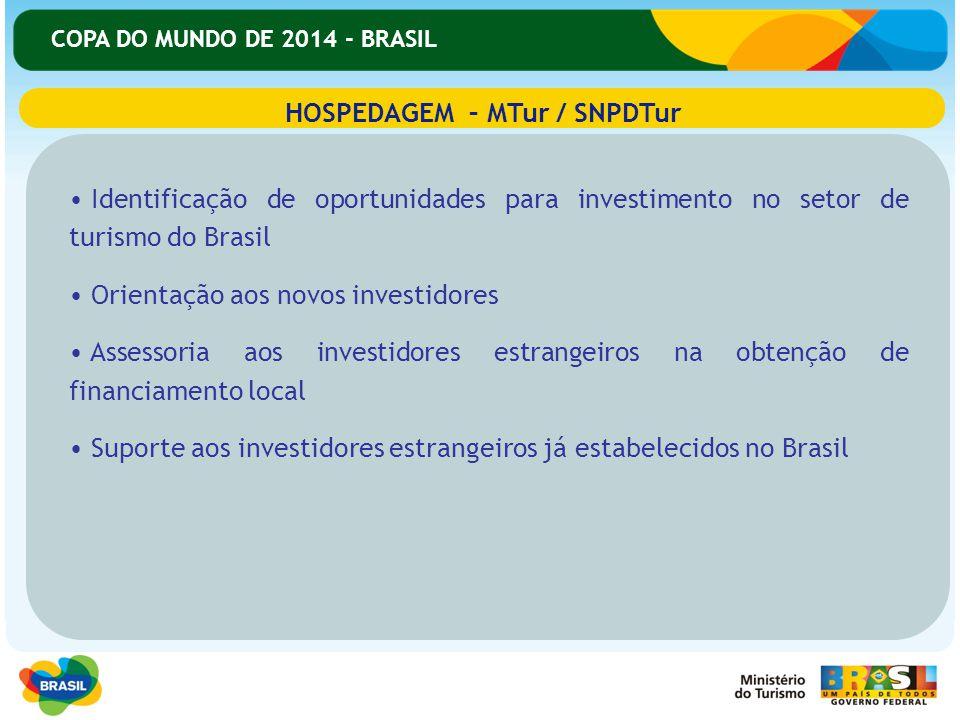 COPA DO MUNDO DE 2014 - BRASIL Identificação de oportunidades para investimento no setor de turismo do Brasil Orientação aos novos investidores Assess