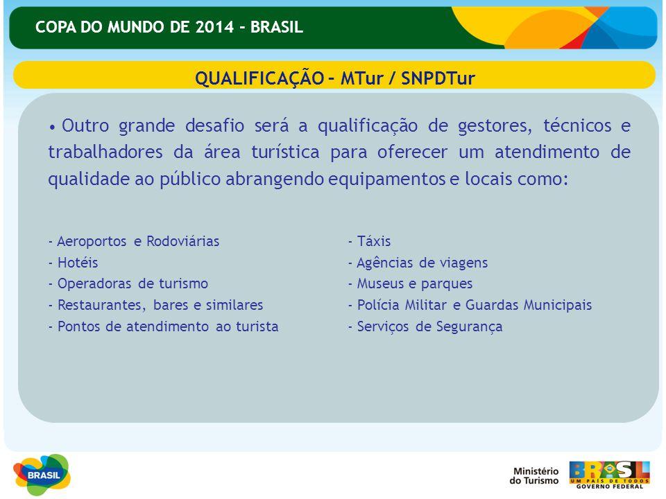 COPA DO MUNDO DE 2014 - BRASIL Outro grande desafio será a qualificação de gestores, técnicos e trabalhadores da área turística para oferecer um atend