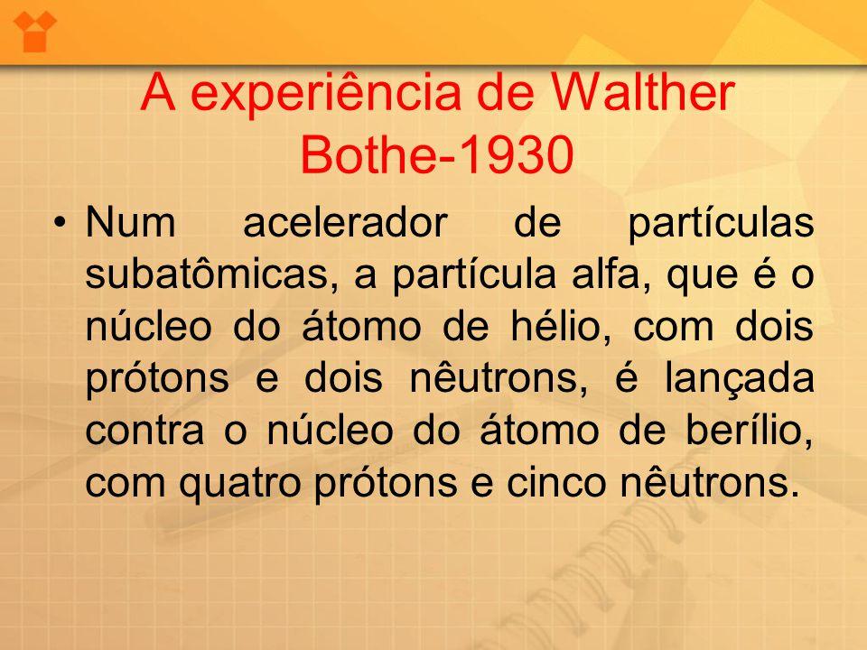 A experiência de Walther Bothe-1930 Num acelerador de partículas subatômicas, a partícula alfa, que é o núcleo do átomo de hélio, com dois prótons e d