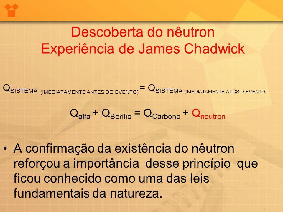Descoberta do nêutron Experiência de James Chadwick Q SISTEMA (IMEDIATAMENTE ANTES DO EVENTO) = Q SISTEMA (IMEDIATAMENTE APÓS O EVENTO) Q alfa + Q Ber