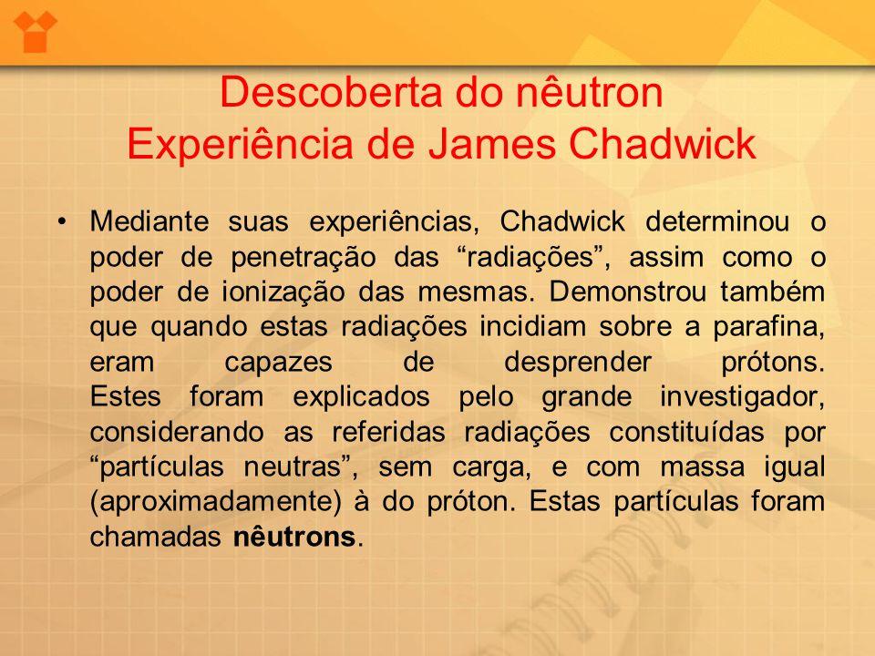 Mediante suas experiências, Chadwick determinou o poder de penetração das radiações, assim como o poder de ionização das mesmas. Demonstrou também que