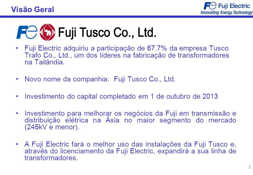 3 Sobre a Fuji Tusco Capitalização: THB 866 milhões (USD28milhões @ THB31/USD) Estabelecida: 1996 (como Tusco Trafo Co., Ltd.) Representante: Visit Cochasit, Diretor Gerente Local: Distrito Industrial Bangpoo, Samutprakarn, Tailândia Acionistas: Grupo Fuji 67.7%, Outros 32.3% Vendas: THB1,153 milhões (USD37 milhões, Ano 2012) No.
