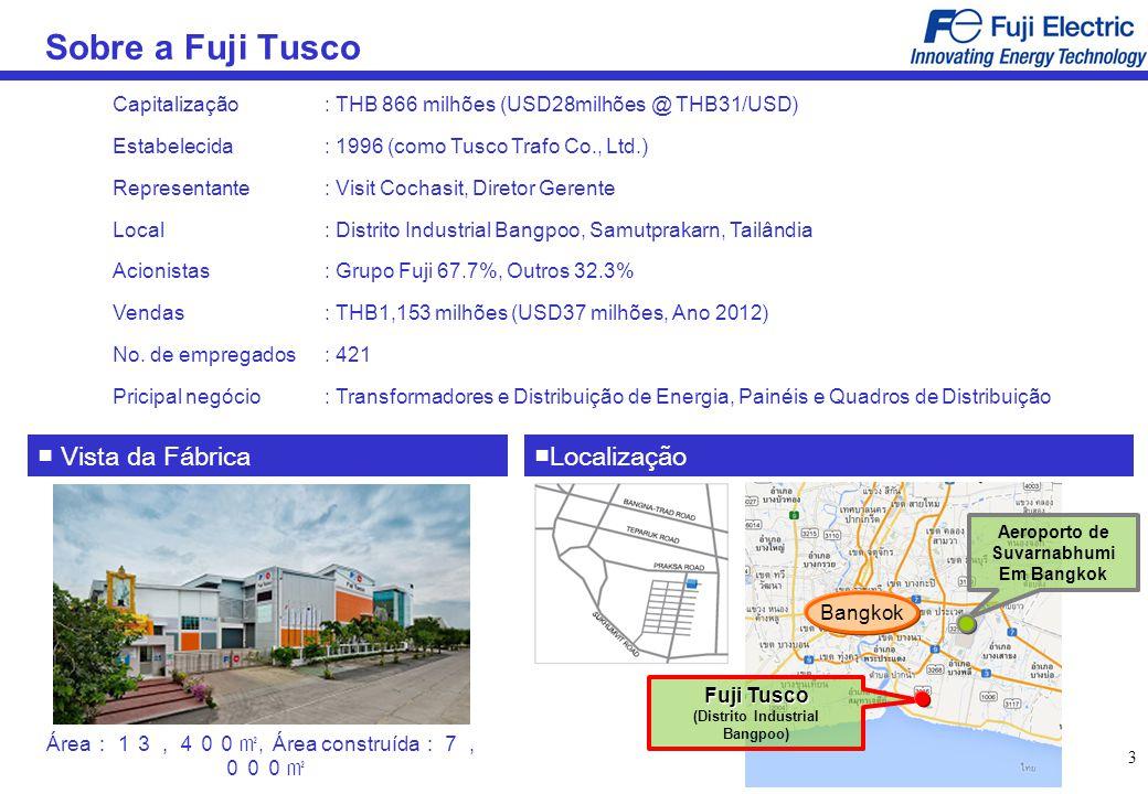 3 Sobre a Fuji Tusco Capitalização: THB 866 milhões (USD28milhões @ THB31/USD) Estabelecida: 1996 (como Tusco Trafo Co., Ltd.) Representante: Visit Co