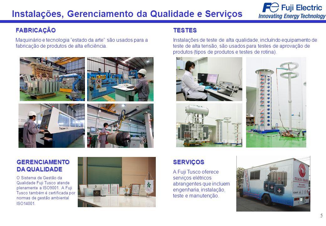 5 Instalações, Gerenciamento da Qualidade e Serviços FABRICAÇÃO Maquinário e tecnologia estado da arte são usados para a fabricação de produtos de alt