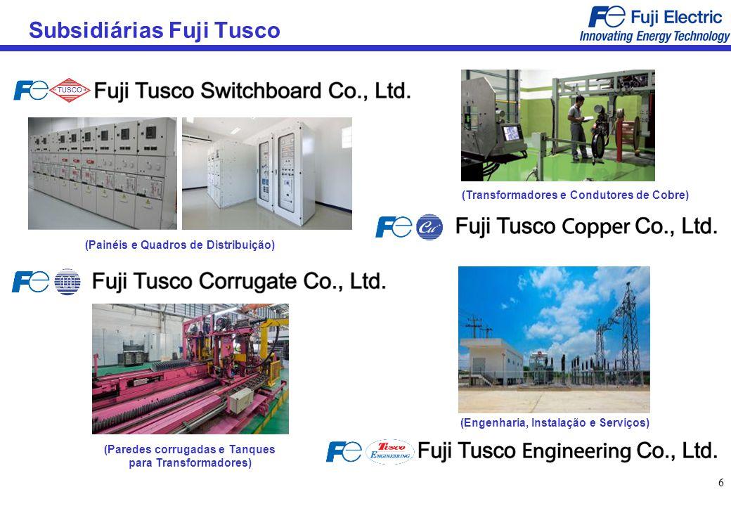 77 Bases Globais de Fabricação de Transformadores Shanghai Fuji Electric Transformer (Transformadores em resina fundida) Fuji Tusco (Transformadores de Energia e Distribuição) Fuji Electric, Chiba Factory Transformadores de Energia, Sistemas de Conversão de Energia, Transformadores em resina fundida)