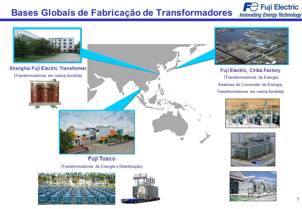 77 Bases Globais de Fabricação de Transformadores Shanghai Fuji Electric Transformer (Transformadores em resina fundida) Fuji Tusco (Transformadores d