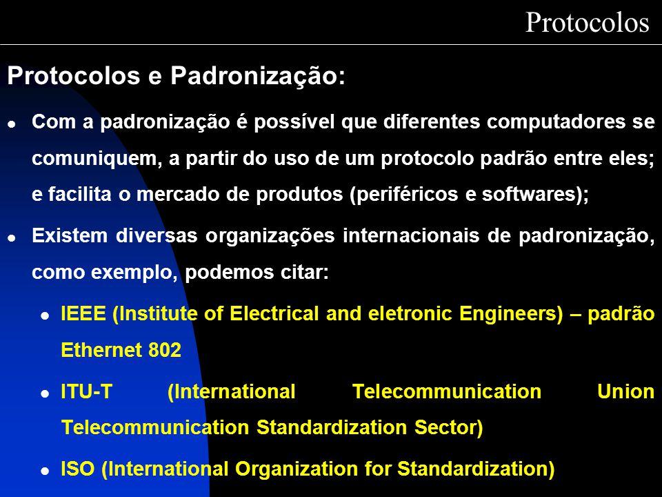 Protocolos Protocolos e Padronização: Com a padronização é possível que diferentes computadores se comuniquem, a partir do uso de um protocolo padrão