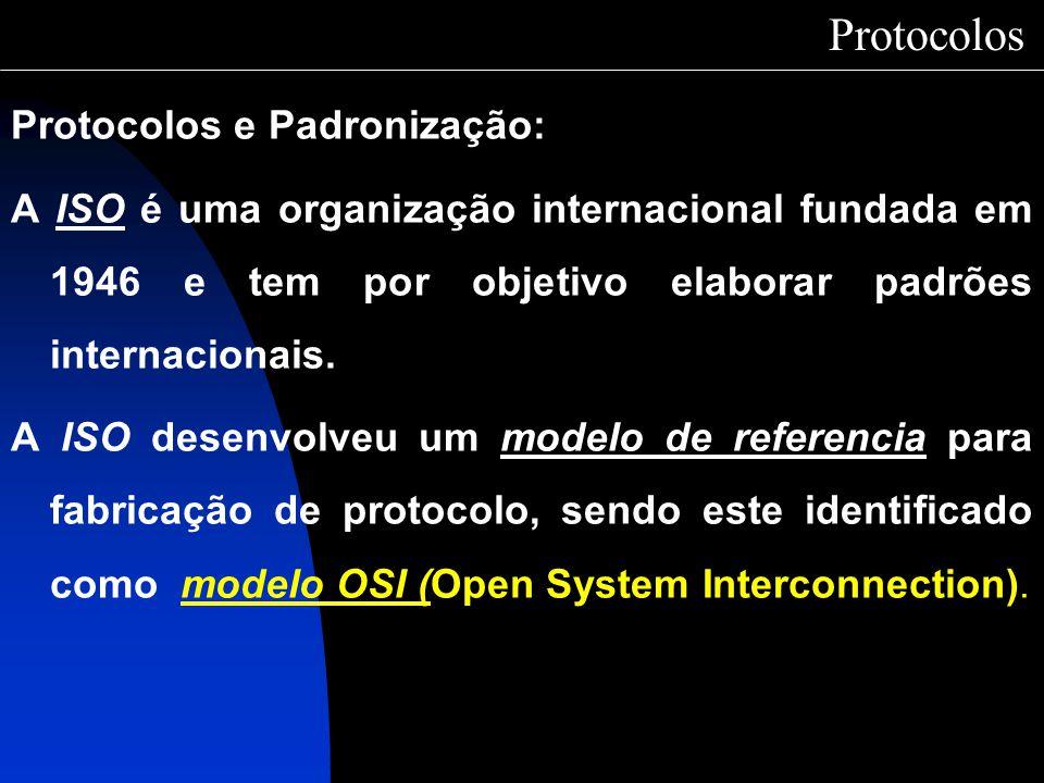 Protocolos Protocolos e Padronização: A ISO é uma organização internacional fundada em 1946 e tem por objetivo elaborar padrões internacionais. A ISO