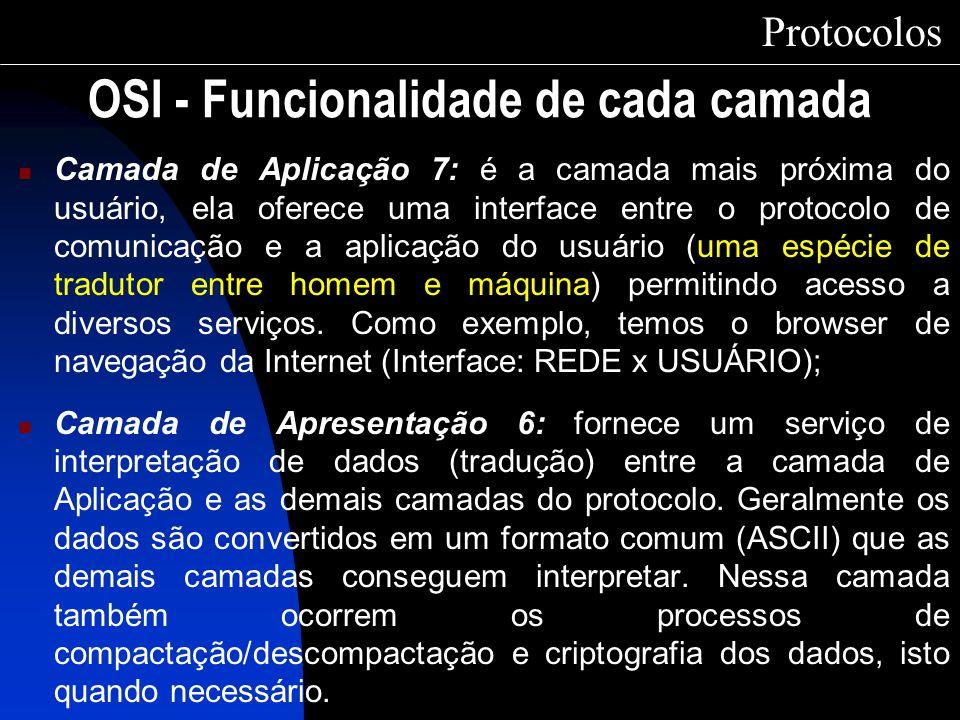 Camada de Aplicação 7: é a camada mais próxima do usuário, ela oferece uma interface entre o protocolo de comunicação e a aplicação do usuário (uma es