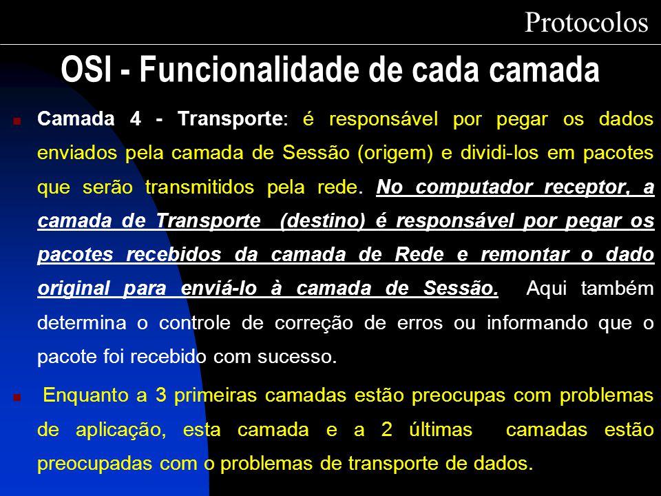 Camada 4 - Transporte: é responsável por pegar os dados enviados pela camada de Sessão (origem) e dividi-los em pacotes que serão transmitidos pela re